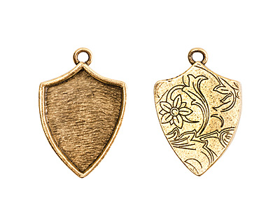 Nunn Design Antique Gold (plated) Crest Shield Bezel Pendant 20x30mm