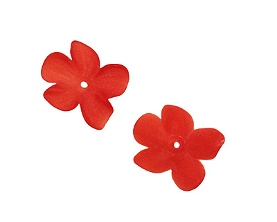 Matte Ruby Lucite Hibiscus Flower 3x11-14mm