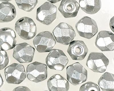 Czech Fire Polished Glass Matte Metallic Aluminum Round 4mm
