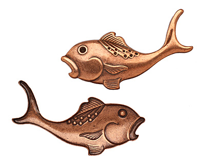 Stampt Antique Copper (plated) Fish 62x28mm (no drill hole)