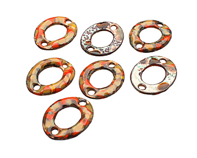 C-Koop Enameled Metal Orange Mix Small Oval Link 18-20x15-16mm