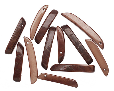 Tagua Nut Dark Brown Splinter (top-drilled) 6-8x38-48mm