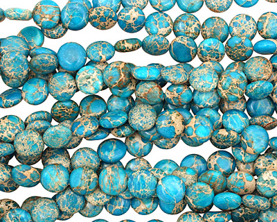 Ocean Blue Impression Puff Coin 12mm
