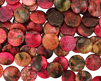 Red Turtle Jasper Puff Coin 25mm