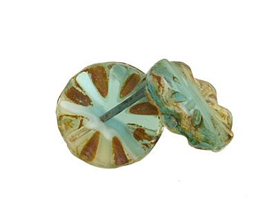 Czech Glass Peruvian Opal Flower Window Coin 18mm
