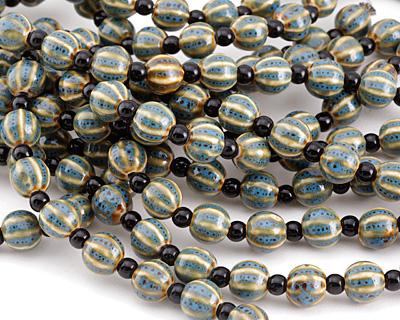 Alice Blue w/ Speckles Porcelain Corrugated Round 11mm