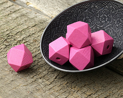 Pink Wood Faceted Nugget 20mm