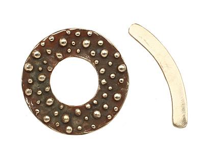 Saki White Bronze Bumpy Toggle Clasp 34mm, 36mm bar