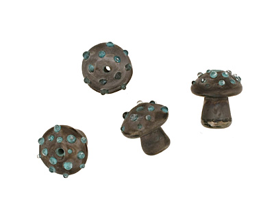 The BeadsNest Lampwork Glass Neptune Mushroom 18-21x18-19mm