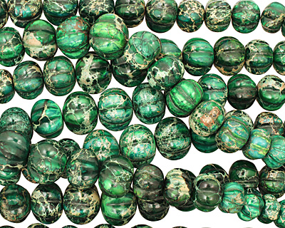 Dark Emerald Impression Jasper Pumpkin Graduated 9-20x13-24mm