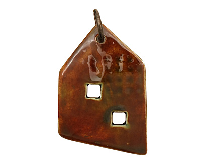 Earthenwood Studio Ceramic Patina Rust Homestead Pendant 29-31x47-48mm