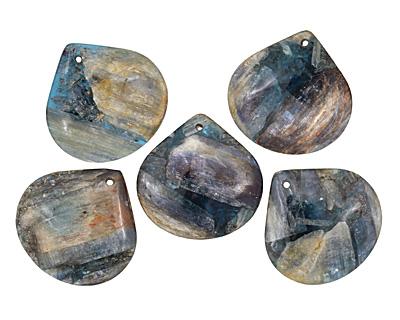 Kyanite (in resin) Flat Teardrop Pendant 40mm