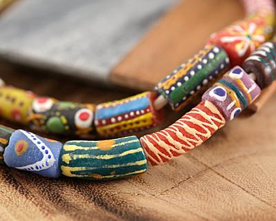 African Hand-Painted Bouquet Mix Powder Glass (Krobo) Beads 15-27x8-13mm