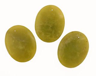 Olive Jade Oval Pendant 35x45mm