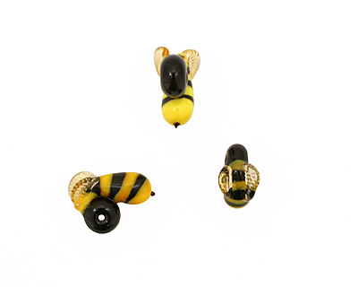 The BeadsNest Lampwork Glass Bumble Bee 6-7x16-19mm