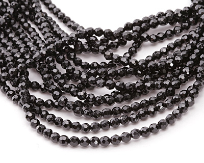 Black Tourmaline Faceted Round 4mm