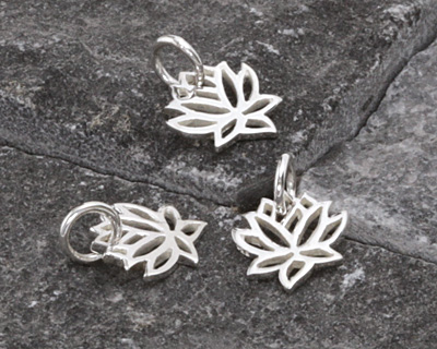 Nina Designs Sterling Silver Tiny Open Lotus Flower Charm 10mm