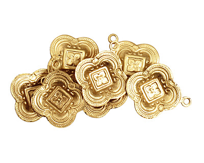 Brass Ornate Clover Charm 16x19mm