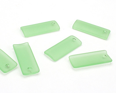 Peridot Recycled Glass Bottle Curve Rectangle 14x35mm