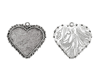 Nunn Design Antique Silver (plated) Large Ornate Heart Bezel Pendant 40x37mm