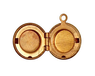 Brass Small Round Ribbon Heirloom Locket 13x15mm