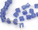 African Recycled Glass Denim Blue Bellflower 9x10mm