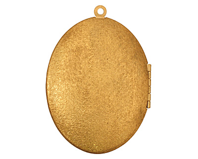 Brass Oval Scalloped Shell w/Cab Setting Heirloom Locket 48x64mm