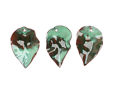 C-Koop Enameled Metal Dark Sage Green Round Leaf 19-21x30-33mm