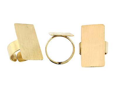 Brass Adjustable Rectangle Ring 28x15mm