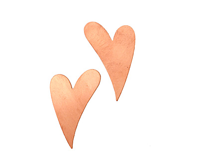 Copper Artisan Heart Blank 25x40mm