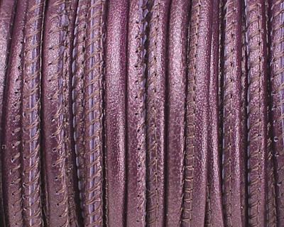 Berry (metallic) Stitched Nappa Round Leather Cord 2.5mm