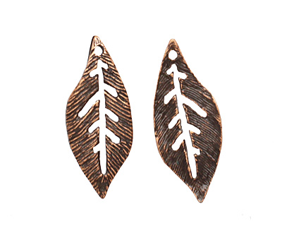 Ezel Findings Antique Copper (plated) Palm Leaf 10x24mm
