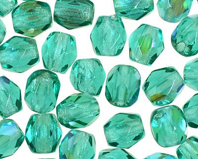 Czech Fire Polished Glass Blue/Green Emerald AB Round 3mm