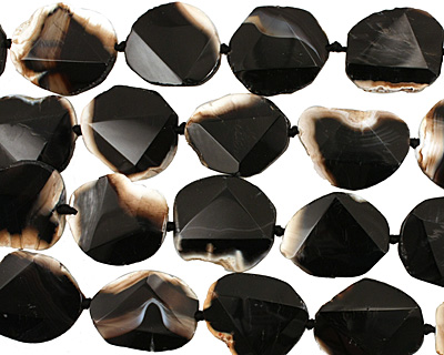 Black Agate Natural Edge Freeform Faceted Slab 30-33x24-30mm