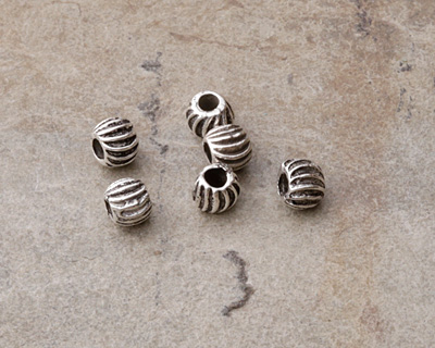 Greek Pewter Tiny Corrugated Bead 4x5mm