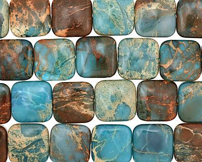 Turquoise Impression Jasper Puff Square 25mm