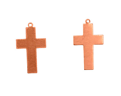 Copper Cross Blank Pendant 15x26mm