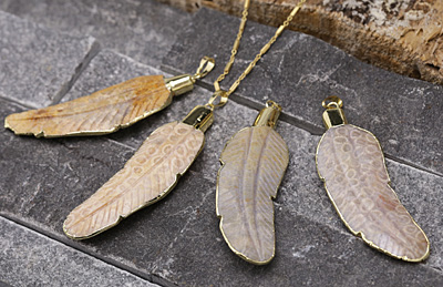 Fossil Jasper Carved Feather Pendants w/ Gold Plating 25x84mm