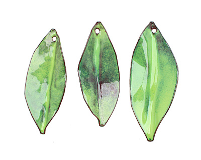 C-Koop Enameled Metal Lime Pointed Leaf 15-20x40-45mm