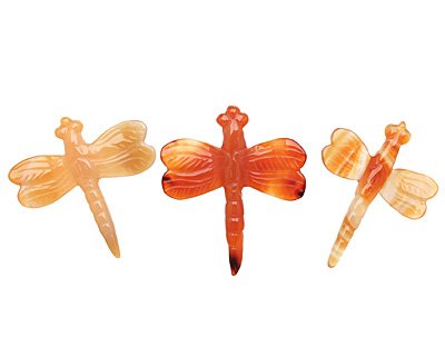 Carnelian (natural) Carved Dragonfly 37-45x52-55mm