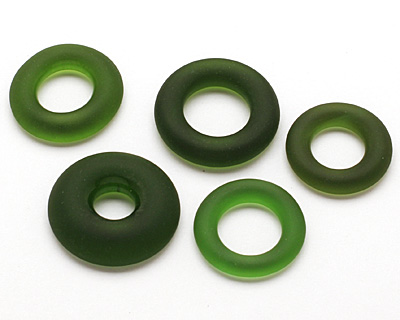 Green Wine (Sea Glass Finish) Glass Bottle Ring 20-30mm