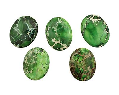 Green Impression Jasper Flat Oval 45x35mm
