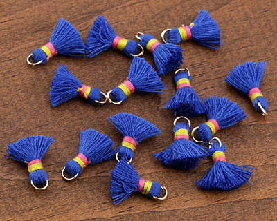 Royal Blue w/ Pink and Yellow Binding & Jump Ring Thread Tassel 18mm