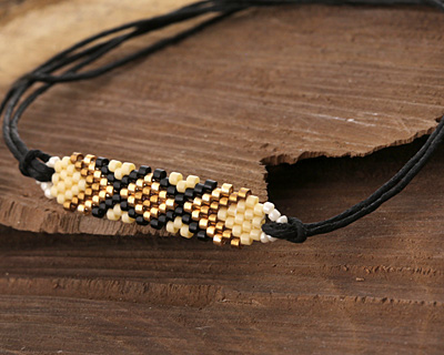 Macadamia Hand Woven Elongated Focal 42x14mm