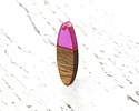 Walnut Wood & Orchid Resin Oval Focal 10x28mm