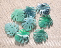 Zola Elements Emerald Marbled Acetate Small Monstera Leaf Focal 23x25mm