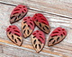 Walnut Wood & Cherry Resin Openwork Leaf Focal 15x28mm