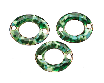 C-Koop Enameled Metal Green Mix Small Oval Link 18-20x15-16mm