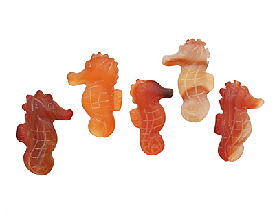 Carnelian (natural matte) Carved Seahorse 32-25x18-22mm