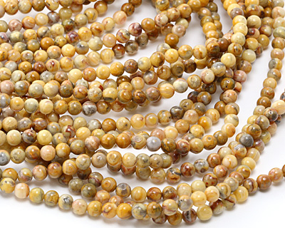 Crazy Lace Agate (yellow) Round 6mm